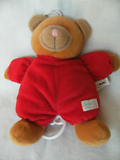 """Simba baby red/brown musical  teddy bear baby comforter soft toy 9"""""""