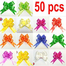50 X LARGE Ribbon Bows assorted colours easy pull flower ribbon party decoration