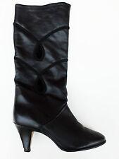 Salamander Stiefel Boots Herbst Gr. 38,5 Leder Applikation 80er True Vintage 80s