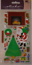 NEW 36 pc CHRISTMAS EVE Stickers Xmas Santa Tree Fireplace Stockings Gift STICKO