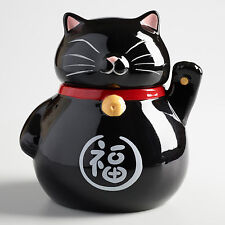 Maneki-Neko Beckoning Black Cat Ceramic Cookie Jar Japanese Talisman Lucky