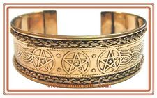 Adjustable Pentagram Engraved Copper Bracelet (Pagan Wicca) FREE SHIPPING