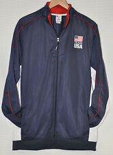 USA Olympic Committee TEAM APPAREL Track JACKET Navy BLUE Red WHITE Men's XL EUC
