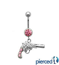 PISTOL GUN NRA TRUMP SHOOTER SILVER DANGLE PINK GEMS CURVED NAVEL BELLY RING 14g
