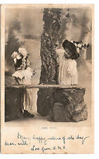Victorian Children Hats Playing Dress Up I See You Peek-a-Boo Vntg Postcard 1906