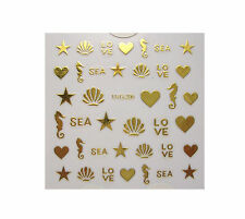 SEAHORSE SHELL STAR GOLD LOVE HEART FOIL NAIL ART STICKER FINGERS & TOES NAILS
