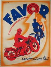 Favor Cycles Velomoteurs Motos Original Vintage Advertising Poster