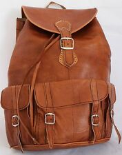 070 Large Vintage Style Real Genuine Leather Bag Rucksack Backpack Brown Tan v