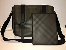 Burberry Check Messenger Shoulder Bag Black/Brown Leather Briefcase+Ipad Cover