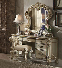 3PCS Vendome Bedroom Vanity Set In Baroque Gold Patina