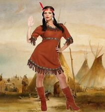 Adulto nativo Rosso Indiano Pocahontas Donna Squaw FANCY DRESS UP Costume U00 476