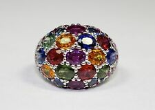 18k White Gold Diamond and Multi Color Sapphire Ring 8.76c Size 6.5  COLORFUL