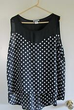 Women's Plus 2X Am City Wear Black w White Polka Dots Sleeveless Top Semi-Sheer