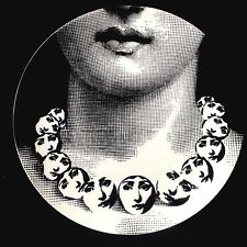 "Fornasetti Replica 8"" Plate Lina Face Necklace Reproduction Nouveau Porcelain"