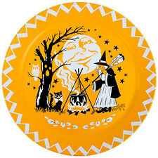 Halloween Tin Serving Tray Round Orange 18 Retro Witch Clip Art Party Platter