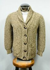 Gaeltarra Aran Wool Tweed Shawl Neck Irish Fisherman Cardigan Sweater Sz 38