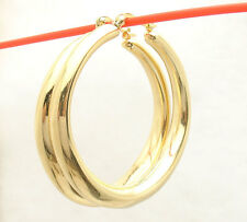 "2"" Bellezza Bold Large All Shiny Band Style Hoop Earrings Bronze Yellow Color"