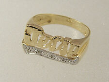 14 KT SOLID YELLOW & WHITE GOLD DIAMOND TAIL CUSTOM MADE JESSE NAME INITIAL RING
