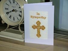Una nueva máquina Embroiderded mano acabado simpatía tarjeta -- simple Cruz
