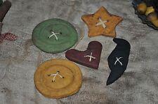 Handmade Salt Dough Primitive Folk Art Bowl Fillers Buttons Star, Heart, Crow