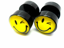 A PAIR OF YELLOW SMILEY FACE THEMED  ACRYLIC  FAKE PLUG BARBELL EARRINGS 10MM.