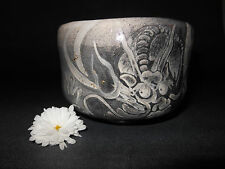 Raku Tea Bowl with Dragon for Japanese Tea Ceremony