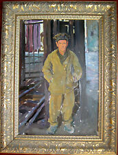 ANTIQUE RUSSIAN  OIL BOARD PAINTING DMITRIEV SOCIALIST REALISM USSR COAL MINER