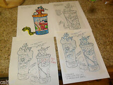 4 LOT ORIGINAL ART MICKEY MOUSE  DISNEY FANTASYLAND BURGER KING TOY CUP SERIES