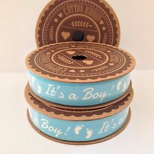 It's a boy! Blue & white cotton ribbon 5m Spool Baby footprints Craft Gift Wrap