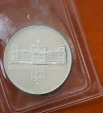 1971 G Germany  5 Mark KM# 128.1 Silver Proof Foundation of German Empire 1871
