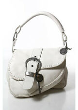 CHRISTIAN DIOR White Pebbled Leather Silver Tone Gaucho Saddle Shoulder Handbag