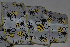 """Wired Ribbon~Summer Honey Bee~Yellow~Black~White~2.5""""~Wreath~Gift~Craft~Bow"""