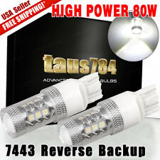 2X High Power 80W 7443 7440 Tail Brake Backup Reverse LED Bulb 6000K White Light