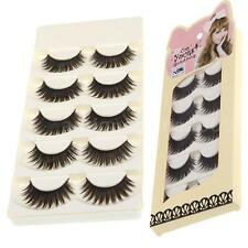 5Pairs False Eyelashes Pure Hand-made Thick Long Voluminous Fake Lashes New 61LE