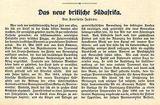 Das neue britische Südafrika ( H.Jastrow ) Historischer Aufsatz von 1910
