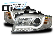 Light Tube LED front headlights in chrome DRL look fit for Audi A4 B6 00-04