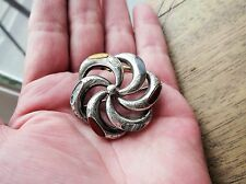 ANTIQUE VICTORIAN SILVER SCOTTISH AGATE INLAY BROOCH DIFFERENT COLOURS FLOWER