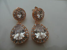 rose gold plated drop earrings/pave and cz, chandelier drop earrings, posts