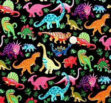Dinosaur dance on black Multi Fabric fq 50x56cm Nutex 87550-1 100% cotton