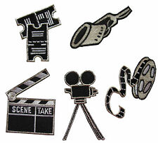 Lot 5Pcs Movie Film Clap Board & film camera Embroidery Iron On Applique Patch