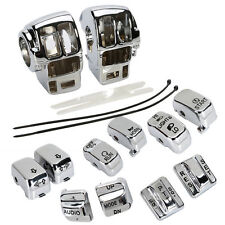 Chrome Switch Housing Cover+10 Cap For Harley Electra Glide/Road Glide/Tri Glide