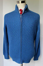 Turnbull Asser Blue Chunky Knit Cashmere Zip Sweater Cardigan Jacket Scotland L
