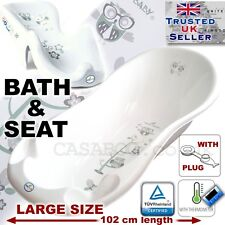 SET LARGE 102cm Baby Bath Tub with thermomether & DRAIN + SEAT chair WHITE OWL
