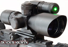 Táctico 2.5-10x40 Verde & Red Dot Sight /Airsoft Alcance Del Rifle + verde Laser