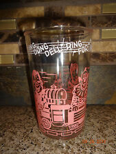"Vintage Welch's 4"" Cup Clear Glass Pink Print Girl/Train/Clown/House/TP's"