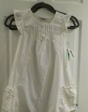 NEW NWT DKNY Girls 100% COTTON WHITE CAP Sleeve CUTE Dress SIZE 7 TODDLER