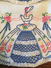"""Vintage Hand Embroidered & Crocheted """"Southern Belle"""" Pillowcase Set"""
