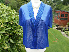 VINTAGE BERKERTEX COBALT BLUE SEQUIN SHRUG JACKET WEDDING PARTY CRUISE HOLIDAY