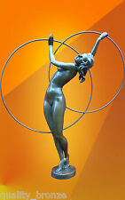 "FRENCH ART DECO, ""HOOP DANCER"" NUDE BRONZE STATUE SCULPTURE DANCER FIGURE"