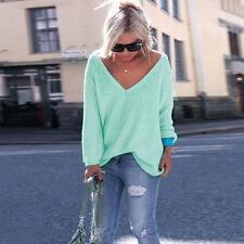 Womens Oversized V Neck Long Sleeve Loose Sweater Knitwear Jumper Tops Outwear